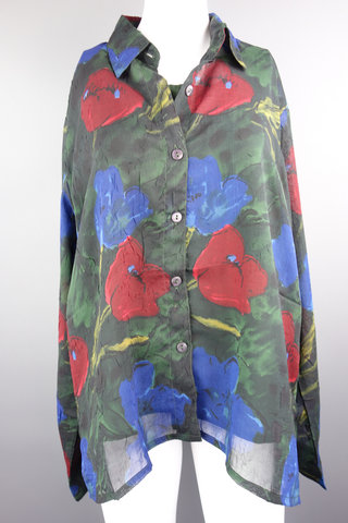Prianka's Collection Green Blue Red Shirt Top Size XL - £7.00