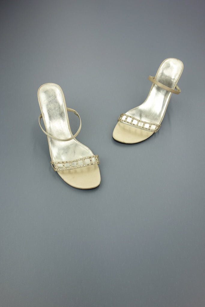 Gold Beige Satin Look Heels Size UK 5 by Clarks