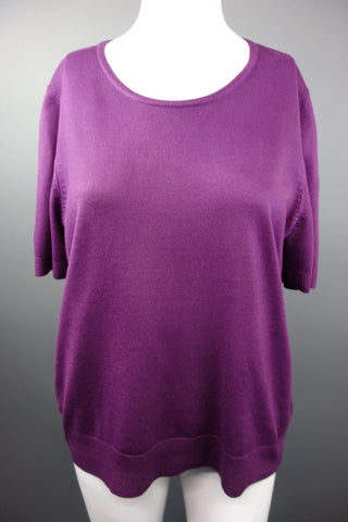 Purple Short Sleeve Jumper by M&S Size UK 16 - £7.50