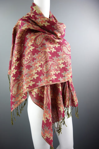 Burgundy Red Orange Gold Large Shawl Scarf