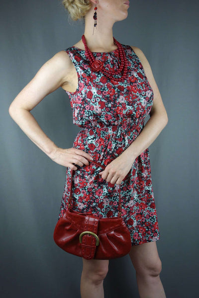 New Look Casual Burgundy Red Floral Short Dress Size 10