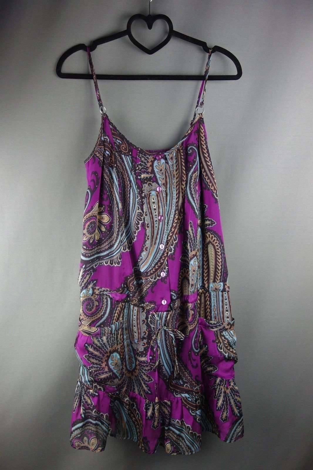 4d7c7934662 Purple Mixed Pattern Strappy Tunic Top Sleeveless by Marks & Spencer Size 8