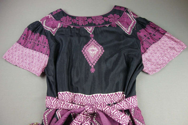 Purple Black Short Sleeved Dress Size 12