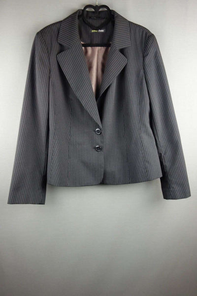 Fully Lined Jacket Blazer Single Breasted Black Striped Size 14 Petite - £10.00 GBP