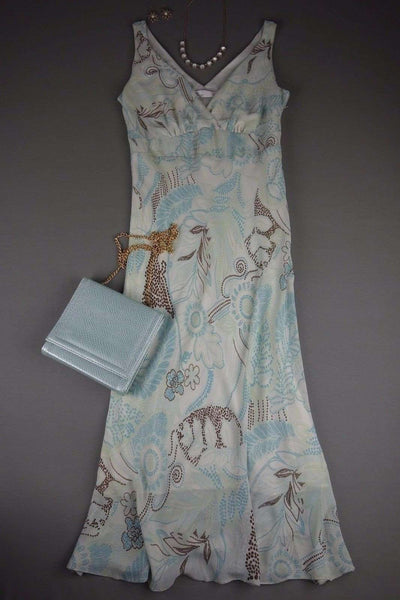 White Blue Aqua Brown Flowers Maxi Dress by BHS Size 10