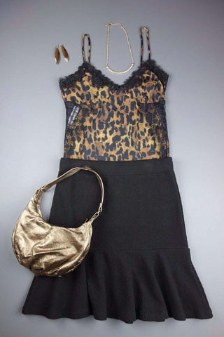 Strappy Brown Black Top RIVER ISLAND + M&S Black Skirt Size 10 - £10.00