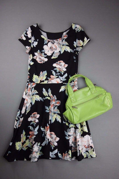 Black Multi Coloured Flowers Dress NEW LOOK Size 8