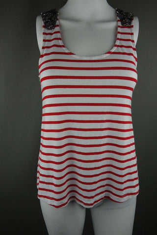 Stripy NEW LOOK Ladies Top UK Size 10 (EUR 38) Red White - £5.00 GBP