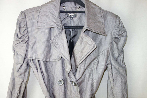 Mac Short Coat by Linea Grey Belted RRP £120.00 NEW (NWT) Size UK 10