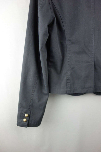 LOOK Size UK 12 Black Long Sleeve Smart Jacket WIth Zip Pockets