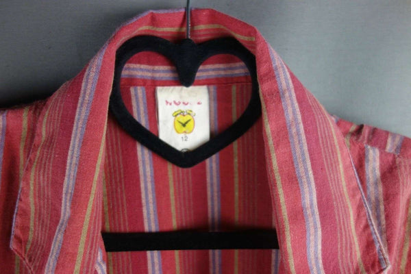 Striped Eye Catching Red Jacket Blazer by C&A Size 12 Short Sleeves