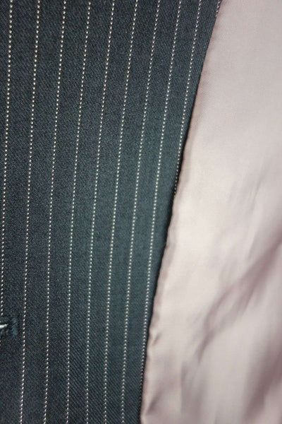 Fully Lined Jacket Blazer Single Breasted Black Striped Size 14 Petite