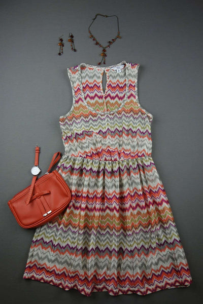 NEW LOOK Orange Stripy Sleeveless Dress Size 8 - £10.00