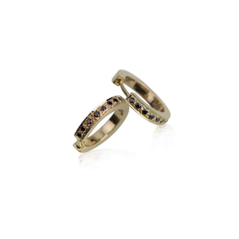 Bold Huggie Pave Black Diamond + Gold Hoops