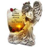 OakiWay Memorial Gifts - Garden Statue With Solar Led Cross Light
