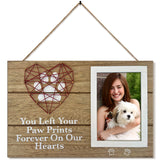 "4""x6"" Pet Memorial Picture Frame with Paw Prints & Woven Heart Design"
