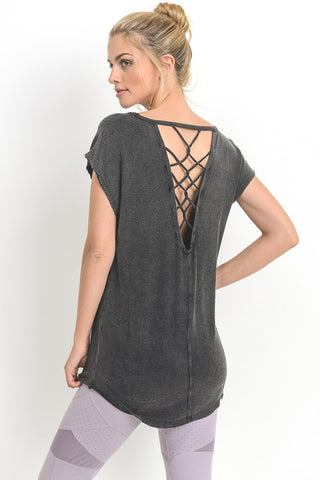 Cap sleeve lattice back top