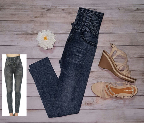 High waist denim legging