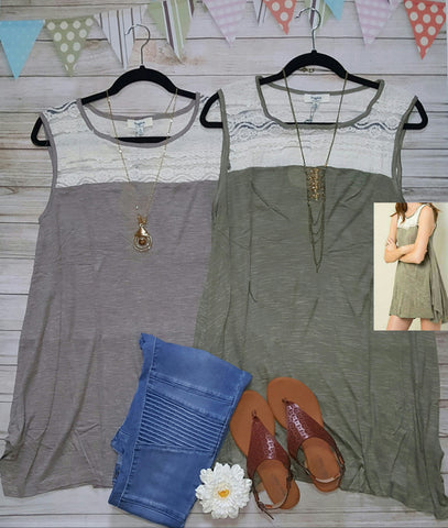 Chestnut lace top tank