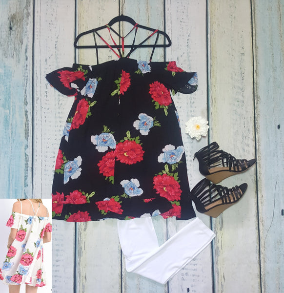 Strappy Yoke floral off the shoulder dress