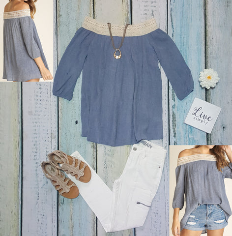 Crepe off shoulder tunic