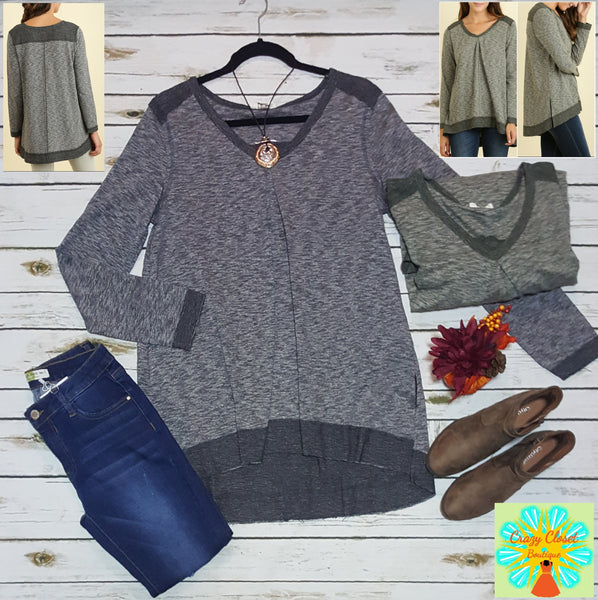 Long sleeve Scoop v neck hi-low tunic