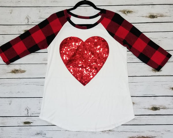 Red plaid 3/4 sleeve sequin heart applique