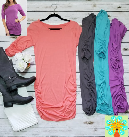 3/4 sleeve tunic with shirring