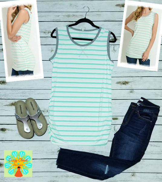 Sleeveless striped tunic with shirring