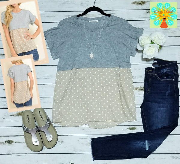 Short sleeve polka dot print top
