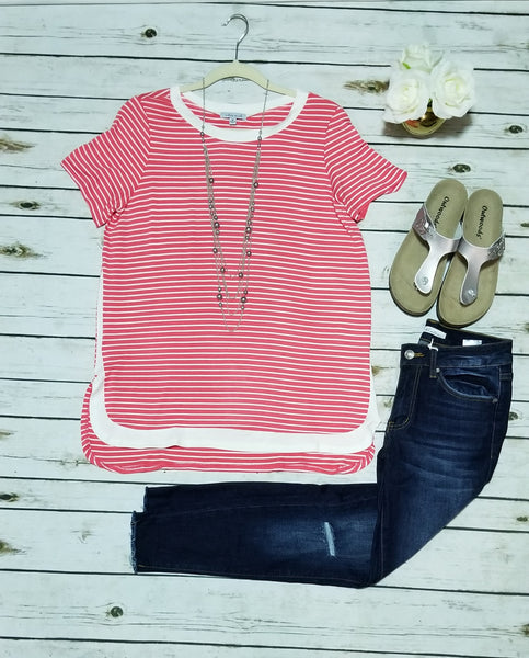 Short sleeve striped knit top