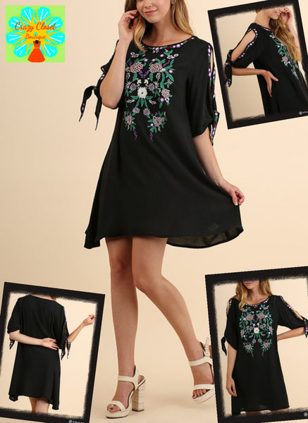 Open tie sleeve embroidered dress