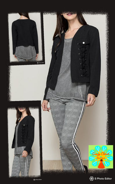 Light crop jacket with V neck