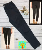 Moto pull on pants/leggings with zipper