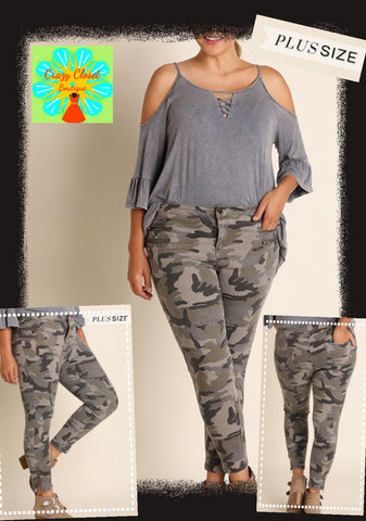 Camo zipper detail moto pants