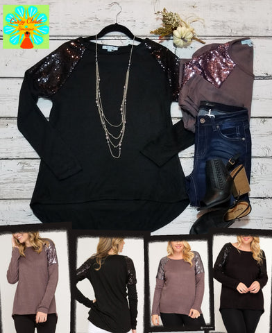 Lightweight sweater with sequin shoulders