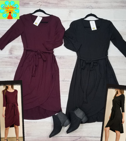 3/4 sleeve solid wrap tie front dress