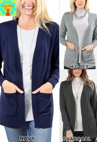 Plus open front pocket cardigan