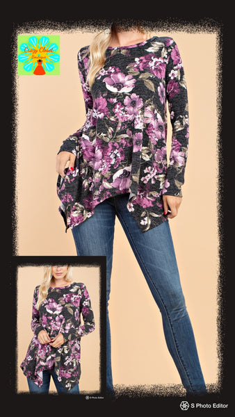 Long sleeve floral print sweater knit top