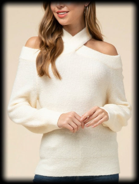 Criss cross open shoulder sweater