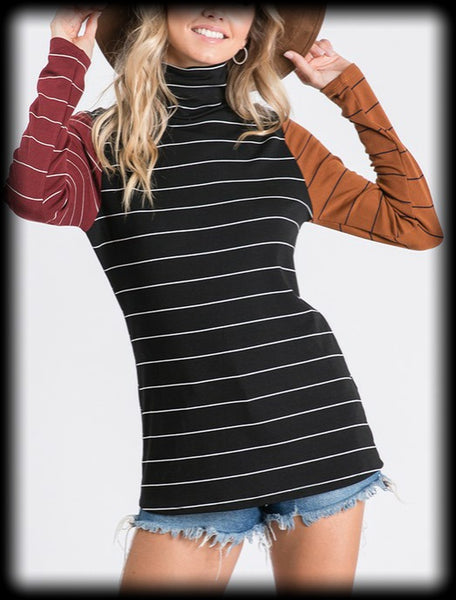 Long sleeve striped turtleneck