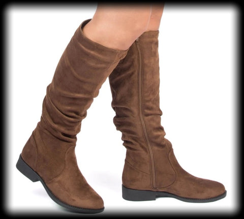 Faux suede stretch slouch tall boots