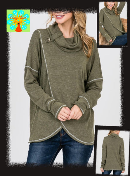 Cross front cowl top with button detail