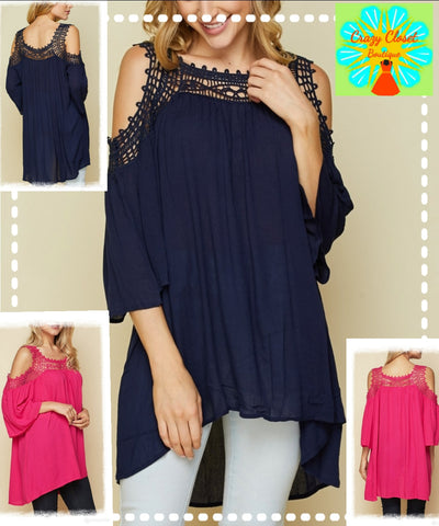 Open shoulder lace top