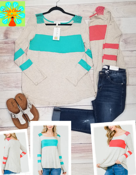 Long sleeve color block with crochet detail