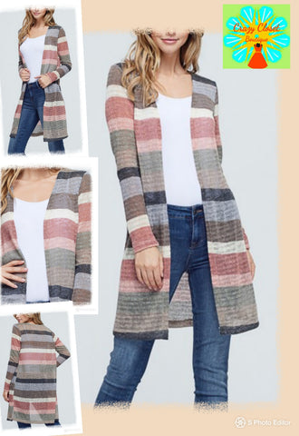 Striped long open front sweater knit cardigan