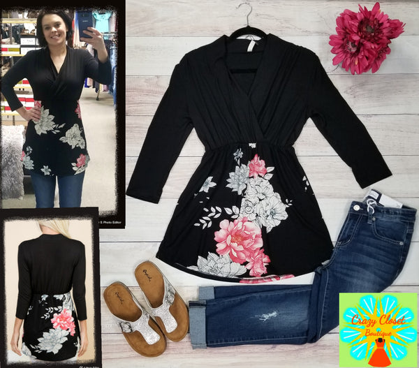 3/4 sleeve solid top floral contrast empire tunic