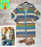 Striped open front long cardigan