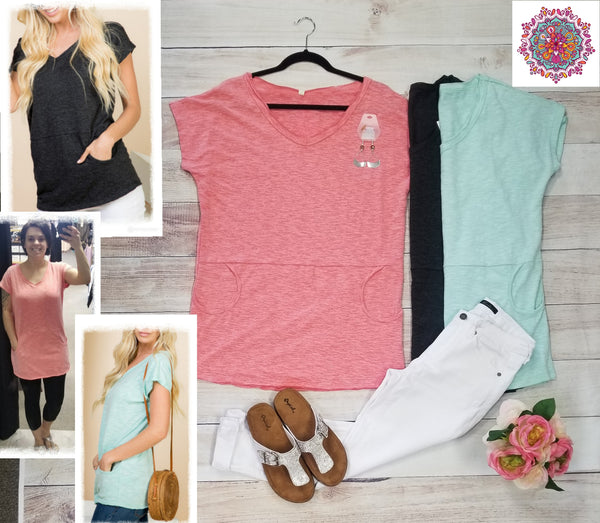 Short sleeve v-neck tunic with kangaroo pocket
