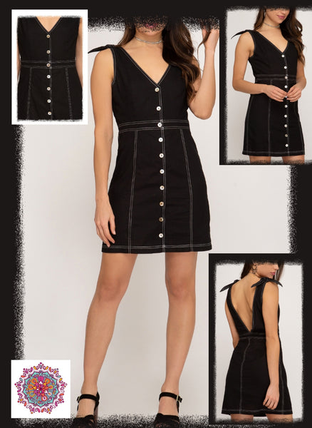 Black v-neck button front shoulder tie dress